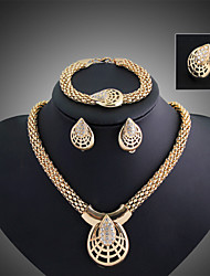 cheap -Women's Cubic Zirconia Cute Jewelry Set Bracelet / Earrings / Necklace - Cuff / Vintage / Party Gold Jewelry Set For Party / Special