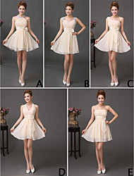 preiswerte -A-Linie Kurz / Mini Chiffon Brautjungfernkleid mit Rüschen Pailletten durch Amgam