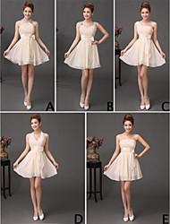 A-Line Straps Short / Mini Chiffon Bridesmaid Dress with Ruffles Sequins