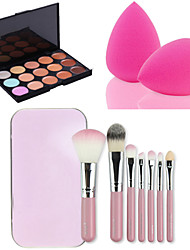 cheap Makeup For Face-15 Colors Facial Face Contour Concealer Cream Palette+7PCS Pink Box Makeup Brushes Set Kit+Powder Puff