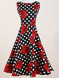 Women's Vintage Slim Polka Dot Rose Print Sleeveless Swing Dress