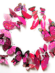cheap -Pack of 12 PCs Wall Stickers, Modern City Life Adorable PVC Stereo Rose Butterfly Wall Stickers