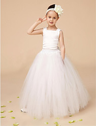 Ball Gown Floor Length Flower Girl Dress - Tulle Sleeveless Square Neck with Ribbon