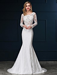 cheap -Mermaid / Trumpet Scoop Neck Sweep / Brush Train Lace Satin Wedding Dress with Appliques by Embroidered bridal