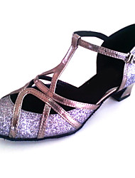cheap -Men's Women's Modern Sparkling Glitter Leatherette Sandal Heel Indoor Professional Beginner Practice Customized Heel Grey Bronze Pink