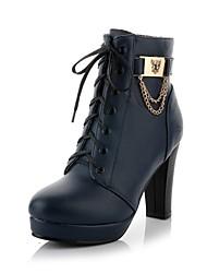 baratos -Feminino Sapatos Courino Outono Inverno Salto Robusto Botas Curtas / Ankle Ziper Corrente Cadarço Para Casual Social Preto Azul Escuro