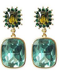 Damen Tropfen-Ohrringe Kristall Synthetischer Smaragd Synthetische Edelsteine Aleación Schmuck Für Party