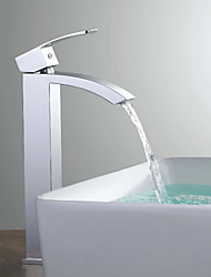 Shengbaier Tall Waterfall Spout Single Handle Bathroom Sink Vessel Faucet Basin Mixer Tap Chrome Polished