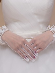 cheap -Tulle Wrist Length Glove Bridal Gloves Party/ Evening Gloves With Rhinestone Bowknot