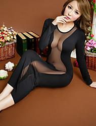 Недорогие -Для женщин Ультра-секси Ночное белье Однотонный Смесь хлопка Черный
