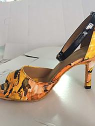 povoljno -Žene Latinski plesovi Umjetna koža Sandale Kopča Kockasta potpetica Žuta Ljubičasta Moguće personalizirati