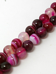 cheap -Beadia 39Cm/Str (Approx 48PCS) Natural Agate Beads 8mm Round Dyed Fuchsia Color Stone Loose Beads DIY Accessories