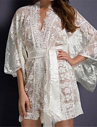 Women's Belted Lace Kimono Nightwear