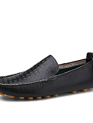Men's Loafers & Slip-Ons Comfort Spring Fall Leather Casual Party & Evening Office & Career Flat Heel Black Brown Blue Flat