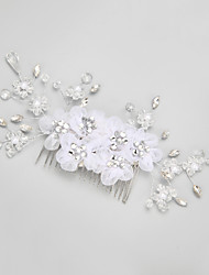 Women's Flower Girl's Rhinestone Crystal Alloy Imitation Pearl Headpiece-Wedding Special Occasion Hair Combs 1 Piece