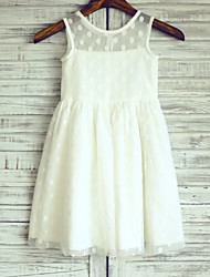 Sheath / Column Knee Length Flower Girl Dress - Satin Tulle Sleeveless Scoop Neck with Pleats by thstylee