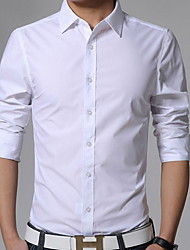 cheap -Men's Business Casual Plus Size Slim Shirt - Solid Colored Classic Collar