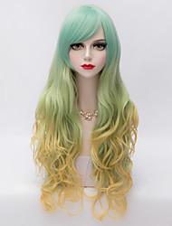 cheap -Harajuku Fashion Long Wavy Side Bang Hair  Gold&Green Gradient Synthetic Lolita Party Charming Women Wig