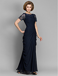 cheap -Sheath / Column Bateau Neck Floor Length Chiffon Mother of the Bride Dress with Beading / Ruched by LAN TING BRIDE®