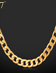 cheap -U7® Men's Simple Gold Chain 18K Gold Plated Men Jewelry Copper Classic Chain Necklace