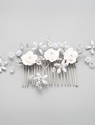 Women's Flower Girl's Alloy Imitation Pearl Headpiece-Wedding Special Occasion Hair Combs 1 Piece