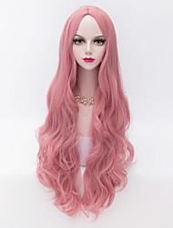 cheap -80cm Long Loose Wavy Wig Hair Pink Heat-resistant Synthetic Fashion Party Wigs