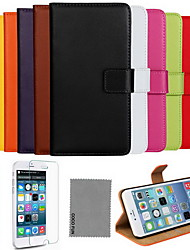 cheap -For iPhone 8 iPhone 8 Plus iPhone 6 iPhone 6 Plus Case Cover Card Holder with Stand Flip Full Body Case Solid Color Hard Genuine Leather