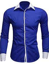 cheap -Men's Solid Casual / Work / Formal Shirt,Others Long Sleeve Black / Blue / Green / Purple / Red / White