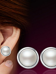 Cute Pearl Sterling Silver Stud Earrings Classical Feminine Style