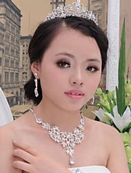 Casamento Europeu imitação de diamante Liga Colares Brincos Para Casamento Festa 1 Conjunto Presentes de casamento