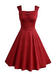 Trapèze Patineuse Robe Femme Soirée / Cocktail Vintage,Couleur Pleine Coeur Mi-long Sans Manches Rouge Noir Coton Polyester EtéTaille