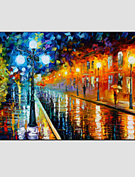 cheap -Oil Paintings Modern Landscape Rainy Street Canvas Material With Wooden Stretcher Ready To Hang SIZE:60*90CM. .