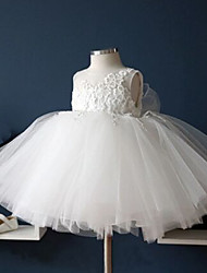 cheap -Ball Gown Tea Length Flower Girl Dress - Cotton Lace Tulle Sleeveless Jewel Neck with Lace by YDN