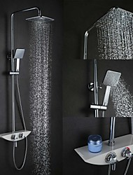 cheap -High Quality Fashion Wall-Mounted Brass Chrome 38 ℃ Smart Thermostatic Shower Faucets Set - Silver