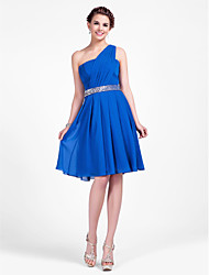 A-Line Princess One Shoulder Knee Length Chiffon Bridesmaid Dress with Beading Draping Side Draping by LAN TING BRIDE®