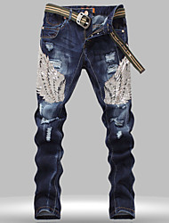 cheap -Men's Eagle Wing Embroidered Denim Pants Hole Ripped Jeans