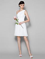 A-kroj Na jedno rame Do koljena Žoržet Haljina za djeverušu s Drapirano sa strane Križano po LAN TING BRIDE®