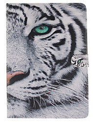 White Tiger Pattern PU Leather Full Body Case with Stand and Card Slot for iPad Air 2