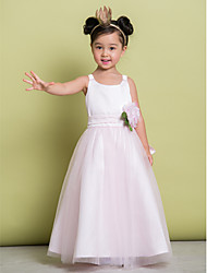 cheap -A-Line Ankle Length Flower Girl Dress - Tulle Sleeveless Scoop Neck with Flower by LAN TING BRIDE®