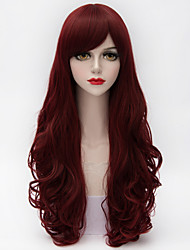 cheap -65cm long natural curly side bang hair dark purple red heat resistant synthetic lolita women top quality wig