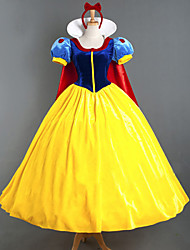 cheap -Princess Fairytale Cosplay Costume Movie Cosplay Yellow Dress Headpiece Cloak Halloween New Year Satin Velvet