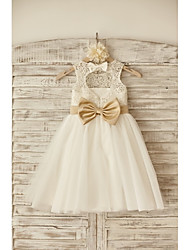 cheap -Princess Knee Length Flower Girl Dress - Lace Tulle Sleeveless Scoop Neck with Bow(s) Sash / Ribbon by LAN TING BRIDE®