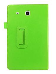 Недорогие -Кейс для Назначение SSamsung Galaxy Tab E 9.6 со стендом / Флип Чехол Однотонный Кожа PU