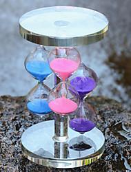 três cores artesanato ampulheta de vidro de cristal de mobiliário de casa ornamentos