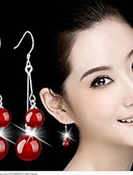 Sterling Silver Natural Agate Drop Earrings