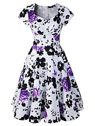 Women's Retro 50s Slim Flower Print Short Sleeve Swing Party Dress