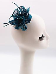 cheap -Flax Imitation Pearl Feather Fascinators Headpiece Elegant Style