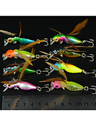 cheap -8 Pcs Hengjia Plastic Hard Fishing Lures 4.5CM 3.4G Crankbait 10#Hooks with Wings Feathers