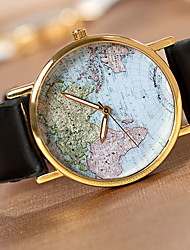 cheap -Unisex World Map Style Watch/Vintage World Map/Antique World Map/ Ladies Watch/ Women Premium Faux Leather Fashion Wrist Watch Cool Watch Unique Watch