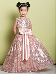 A-Line Floor Length Flower Girl Dress - Sequined Sleeveless Jewel Neck with Bow(s) Sequins by LAN TING BRIDE®